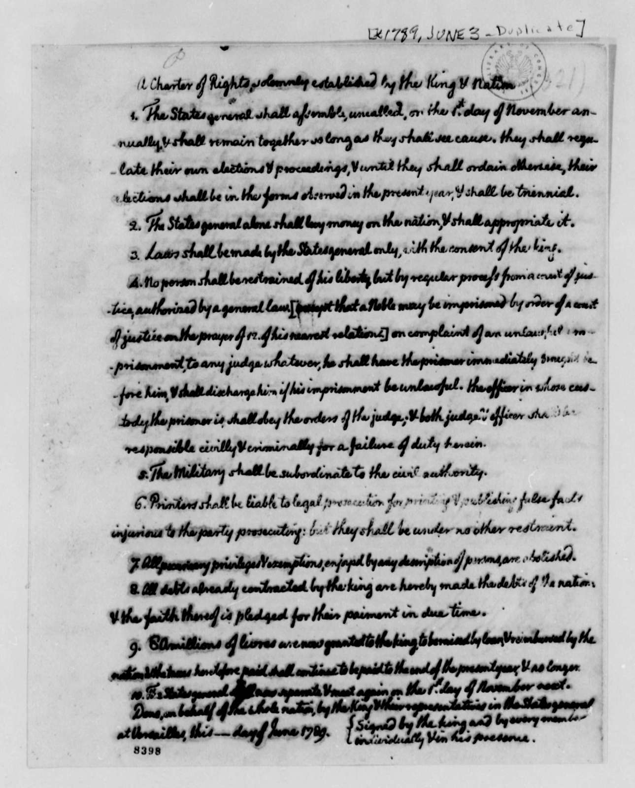 Thomas Jefferson to Rabaut de St. Etienne, June 3, 1789, with Jefferson's Draft Charter of Rights for France