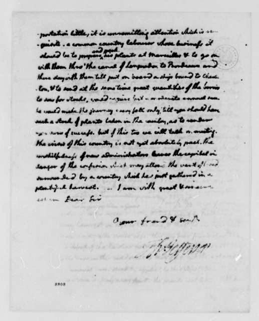 Thomas Jefferson to Ralph Izard, September 18, 1789, with Account
