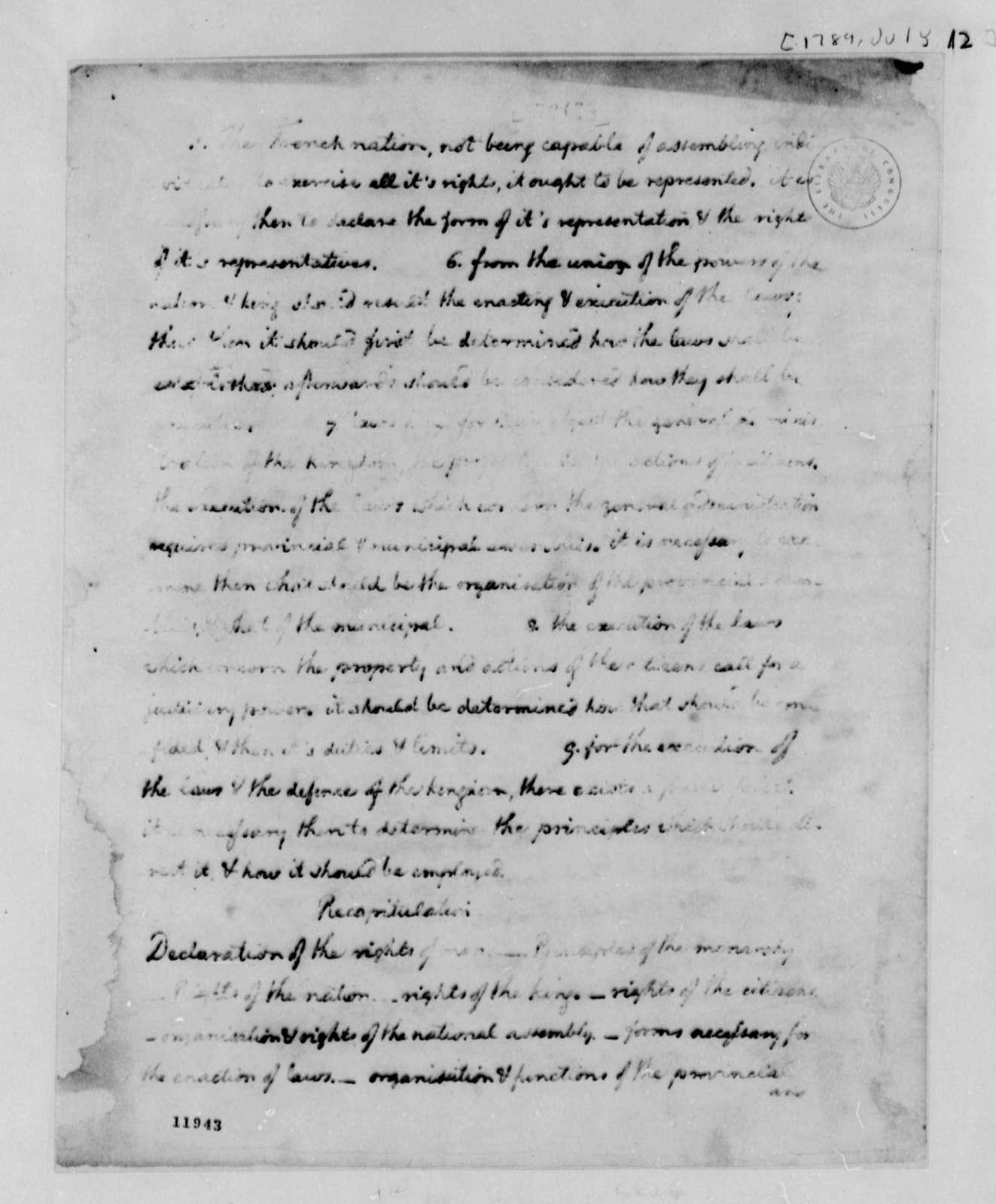 Thomas Jefferson to Richard Price, July 12, 1789