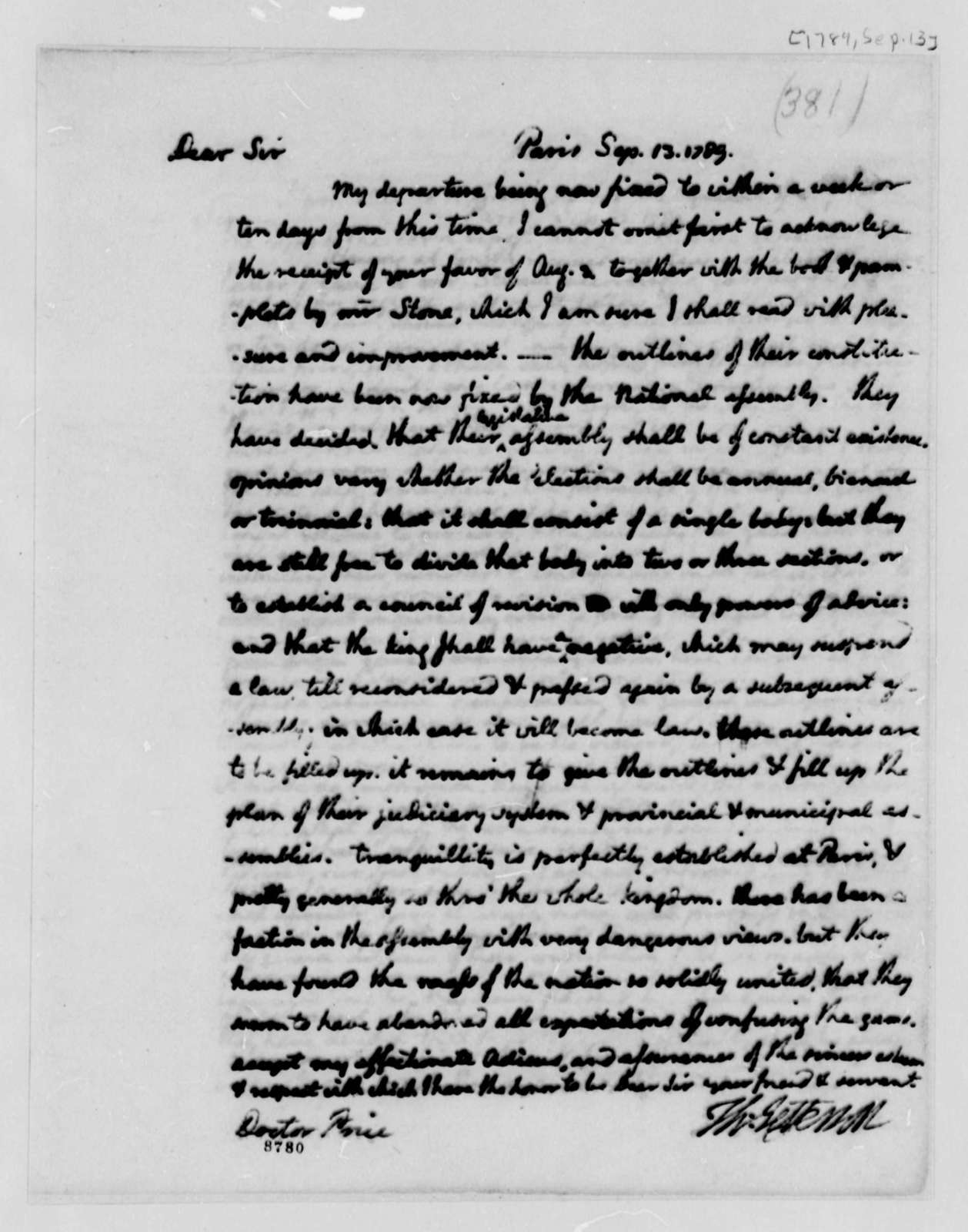 Thomas Jefferson to Richard Price, September 13, 1789