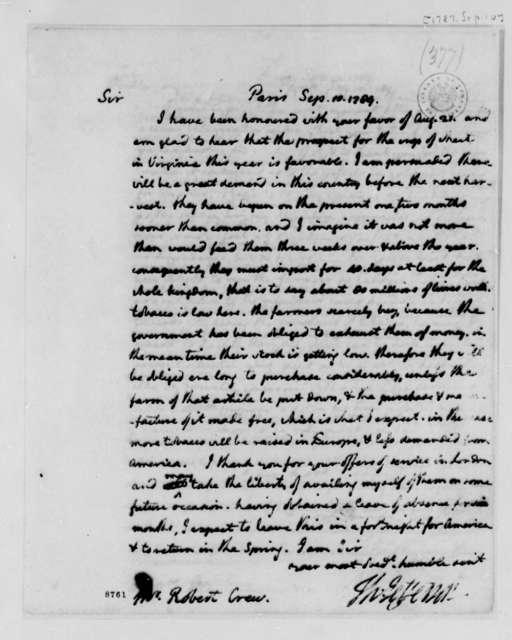 Thomas Jefferson to Robert Crew, September 10, 1789