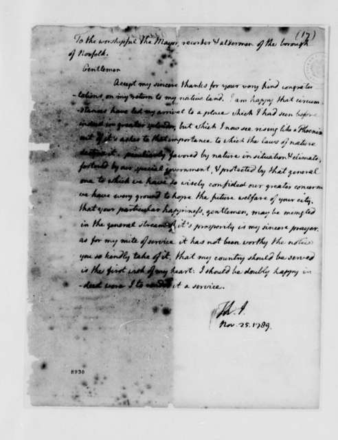 Thomas Jefferson to Robert Taylor, Mayor, and the Recorder and Aldermen of the Borough of Norfolk, November 25, 1789