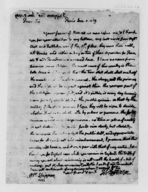 Thomas Jefferson to Thomas Lee Shippen, January 5, 1789
