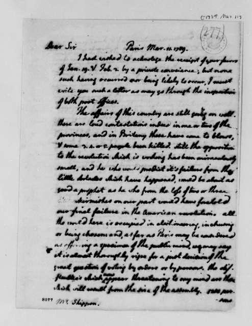 Thomas Jefferson to Thomas Lee Shippen, March 11, 1789