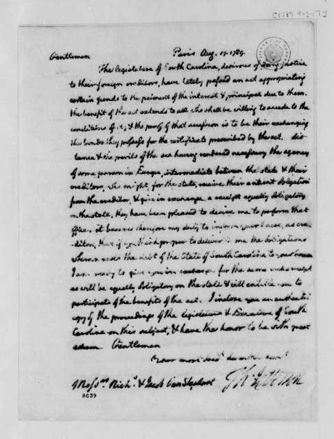 Thomas Jefferson to Van Staphorst & Hubbard, August 17, 1789