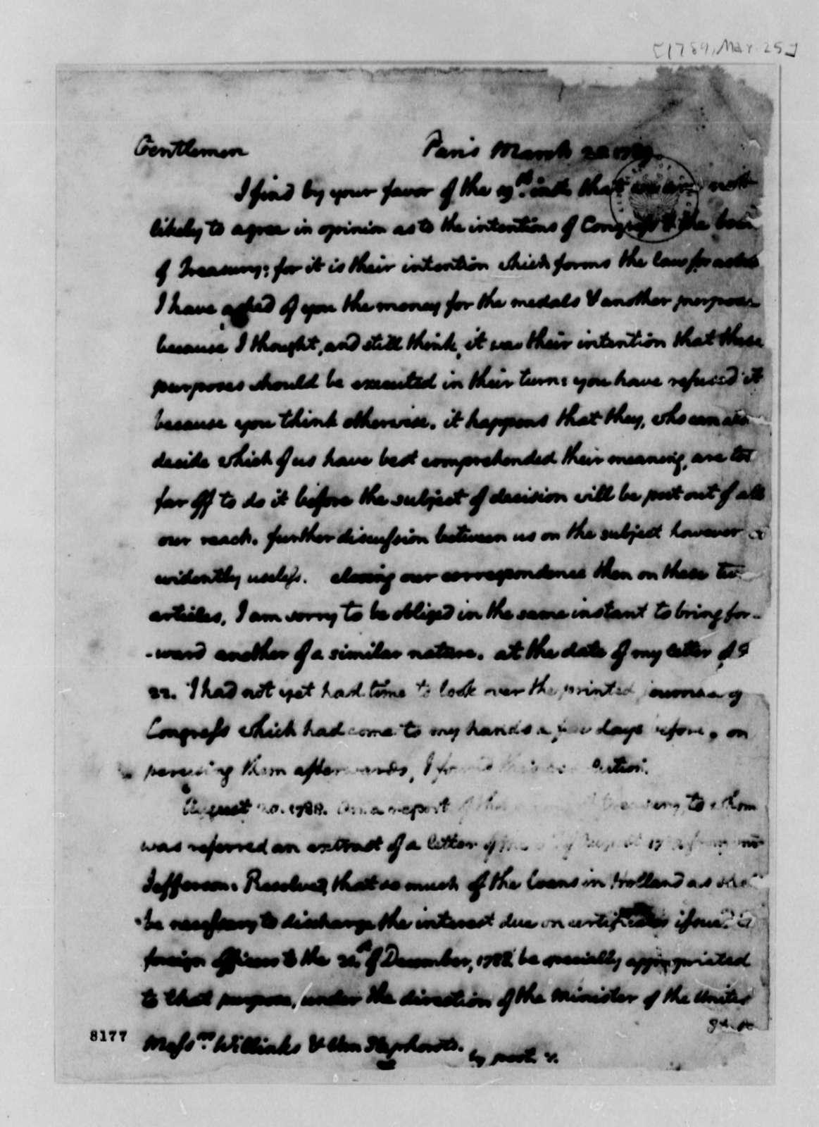 Thomas Jefferson to Wilhelm Willink, et al, March 25, 1789