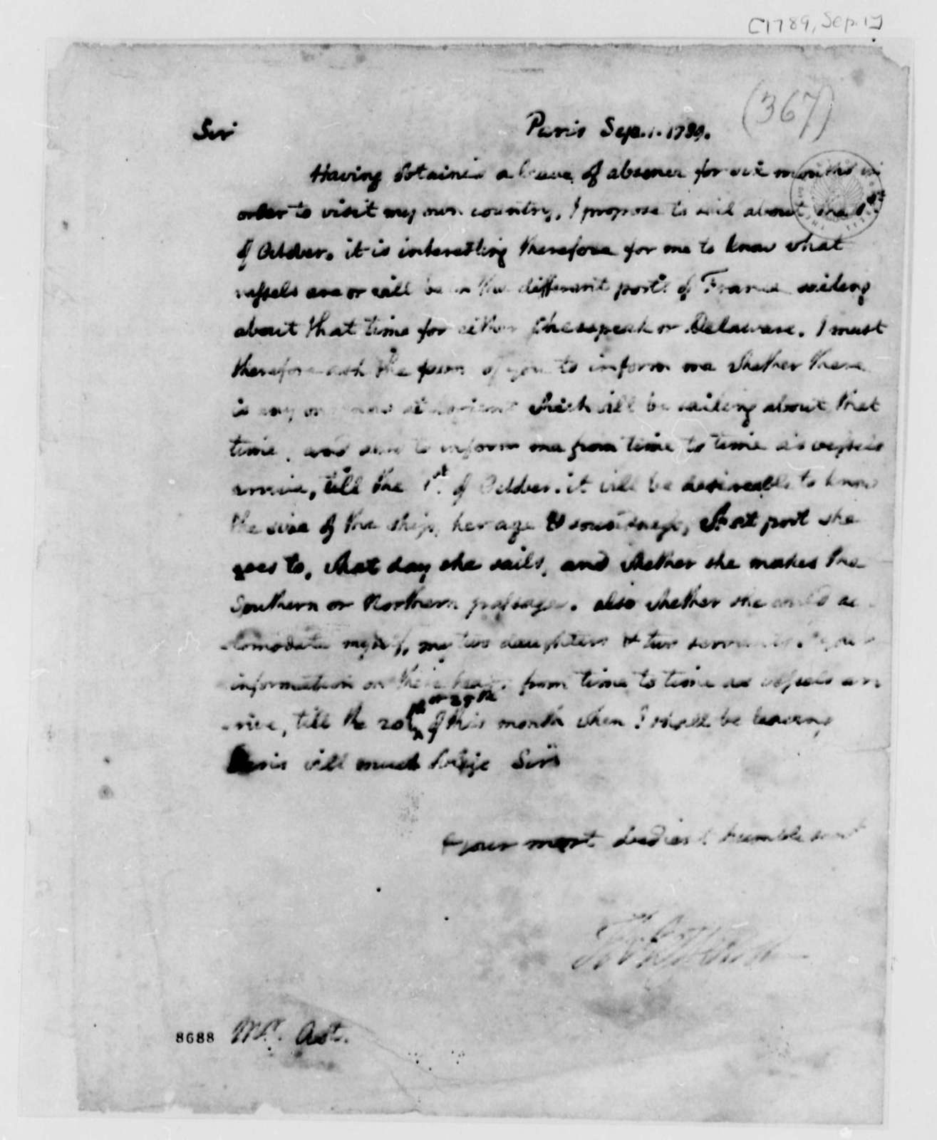 Thomas Jefferson to William Frederick Ast, September 1, 1789