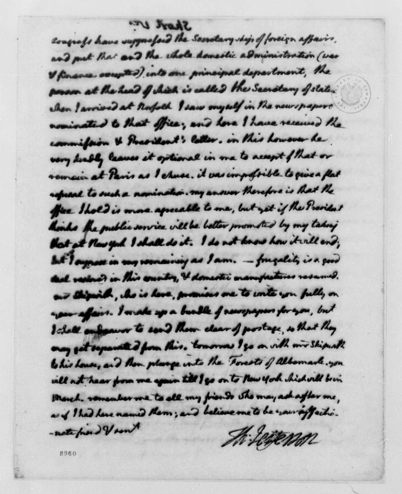 Thomas Jefferson to William Short, December 14, 1789