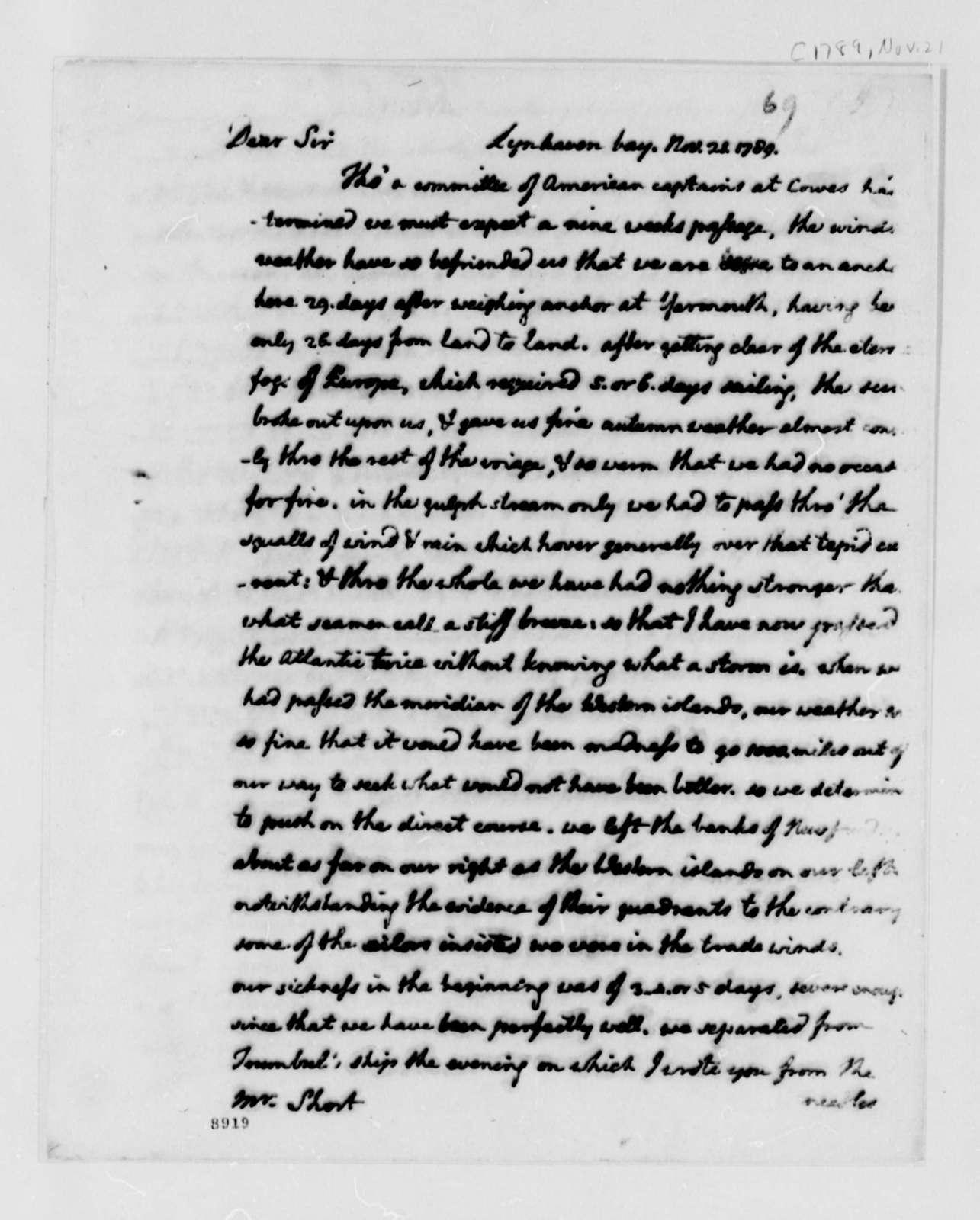 Thomas Jefferson to William Short, November 21, 1789