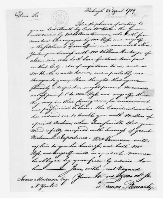 Thomas Pleasants to James Madison, April 23, 1789.