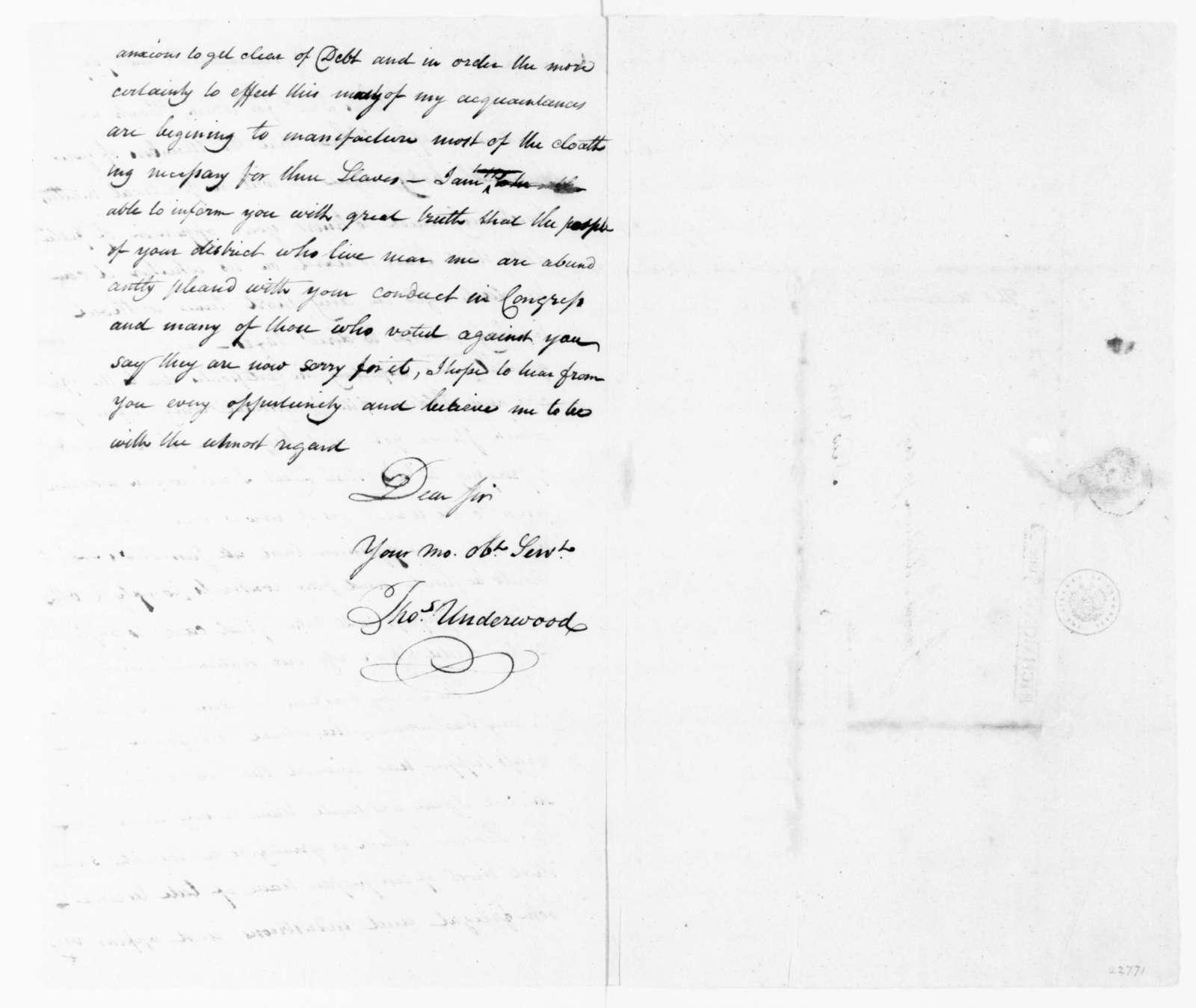 Thomas Underwood to James Madison, June 20, 1789.
