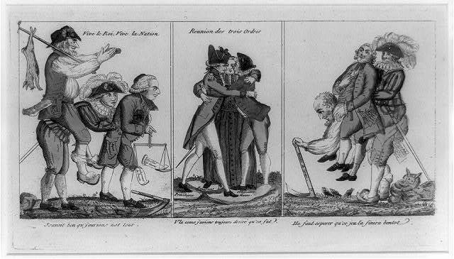 [Three panel cartoon representing the change in condition of French peasants, union of the Three Orders (clergy, aristocracy, and people), and miserable plight of peasants]