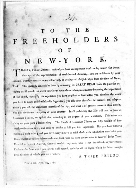 To the freeholders of New-York. To-day, Fellow-citizens, most of you have an important work to do, under the immediate eye of the representatives of confederated America.- you are to discover by your conduct, whether you are in earnest or not, i