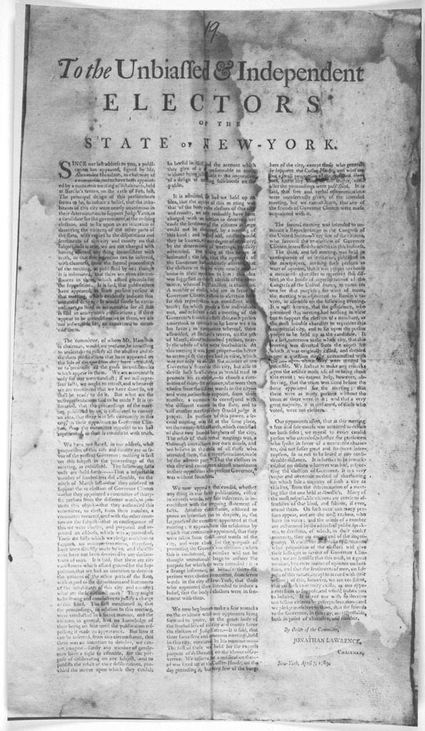 To the unbiassed & independent electors of the State of New-York. Since our last address to you, a publication has appeared, signed by Mr. Alexander Hamilton, as chairman of a committee, said to have been appointed by a numerous meeting of the i