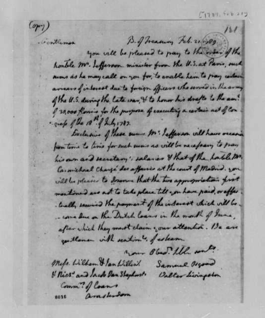 Treasury Board to Wilhelm Willink, et al, February 21, 1789