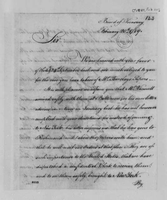 Treasury Commissioners to Thomas Jefferson, February 20, 1789