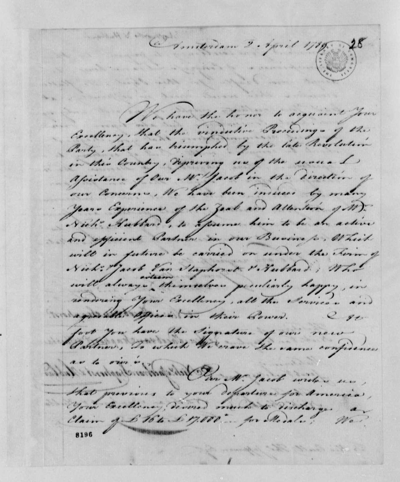 Van Staphorst & Hubbard to Thomas Jefferson, April 2, 1789