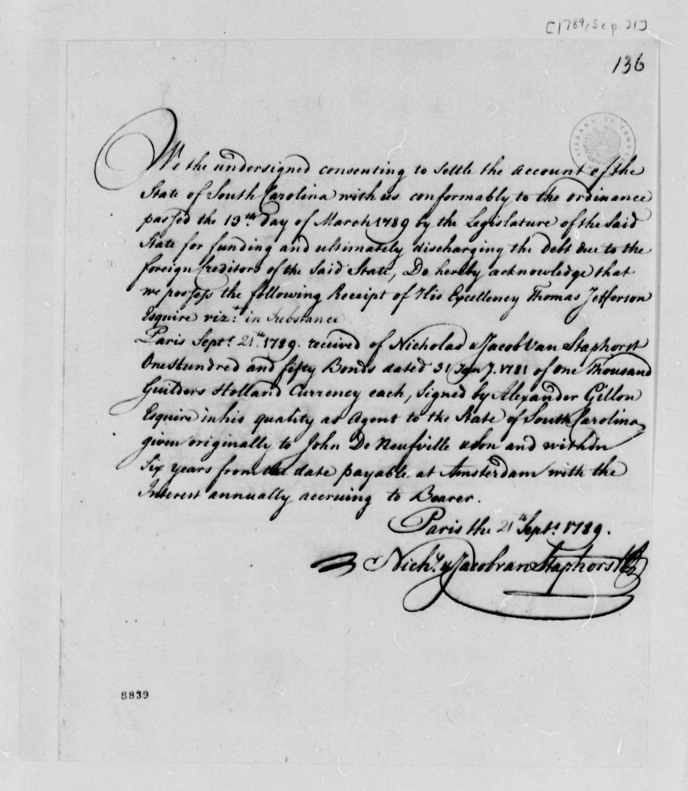 Van Staphorst & Hubbard to Thomas Jefferson, September 21, 1789, with List