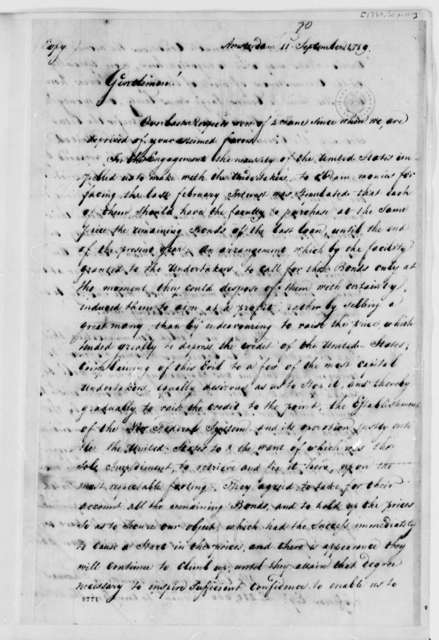 Wilhelm Willink, Van Staphorst & Hubbard to Commissioners to the United States Board of Treasury, September 11, 1789