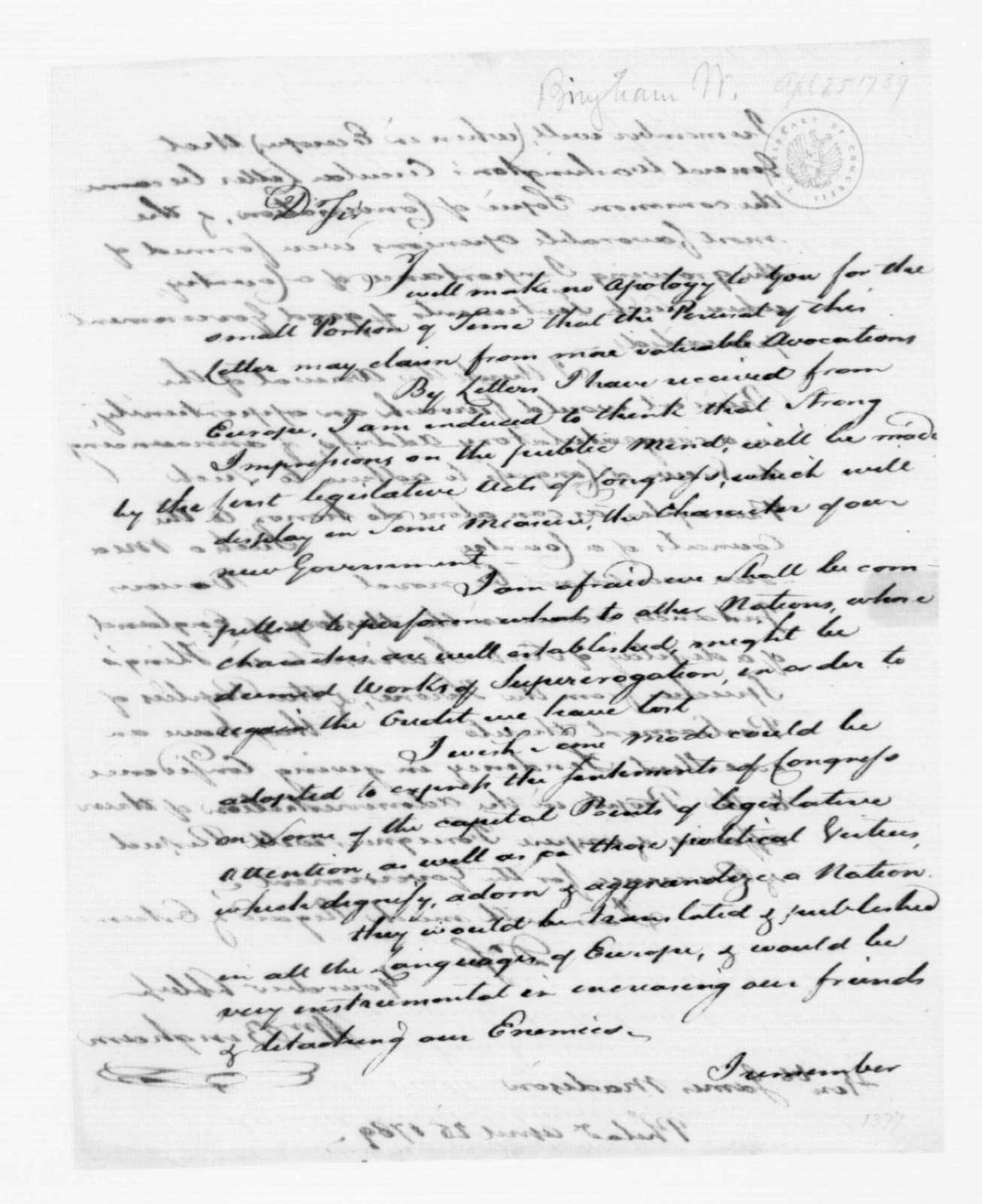 William Bingham to James Madison, April 25, 1789.