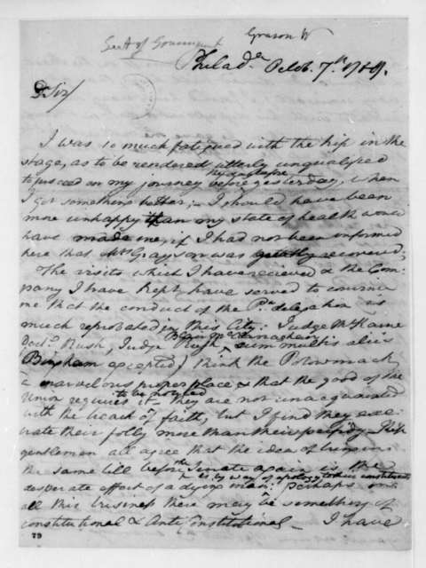 William Grayson to Thomas Jefferson, October 7, 1789.