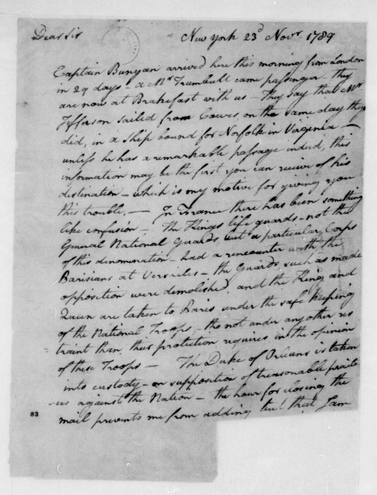 William Irvine to James Madison, November 23, 1789.