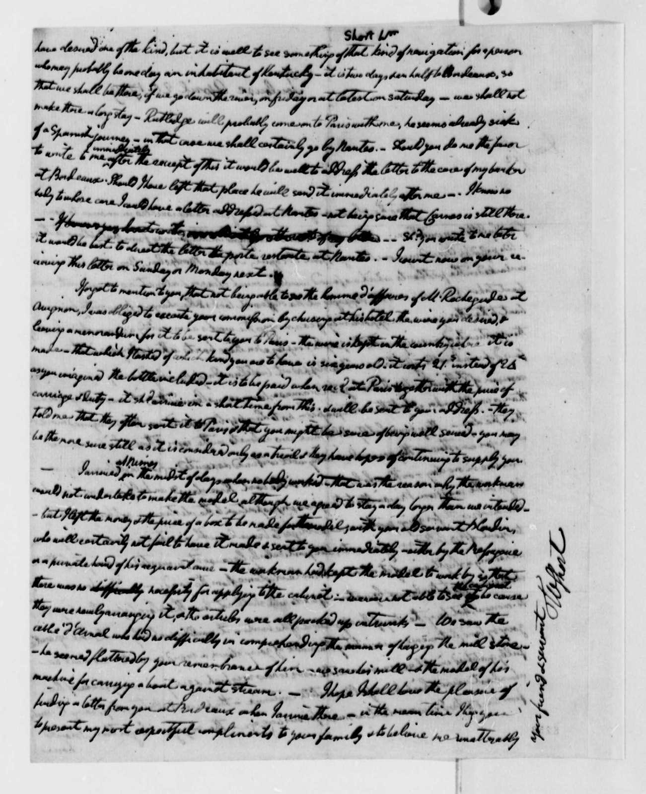 William Short to Thomas Jefferson, April 20, 1789