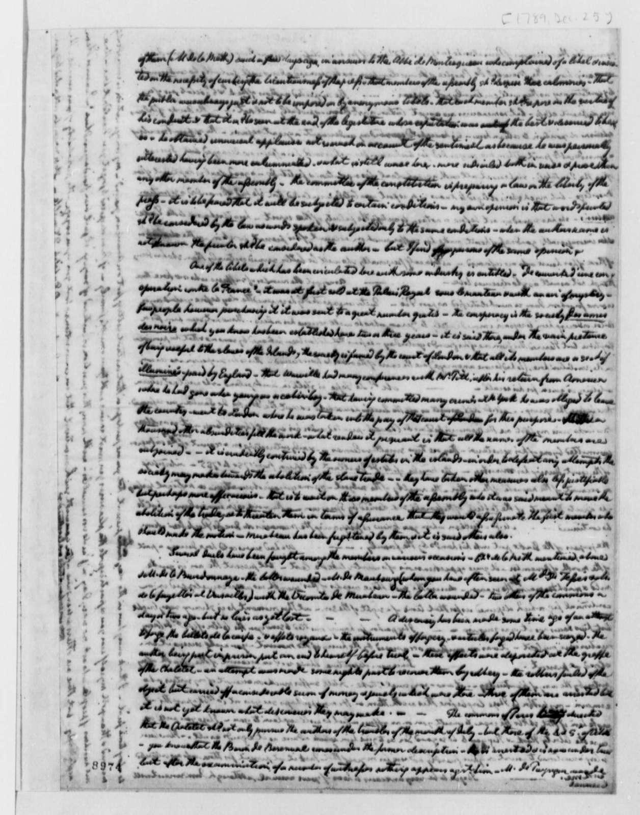 William Short to Thomas Jefferson, December 25, 1789
