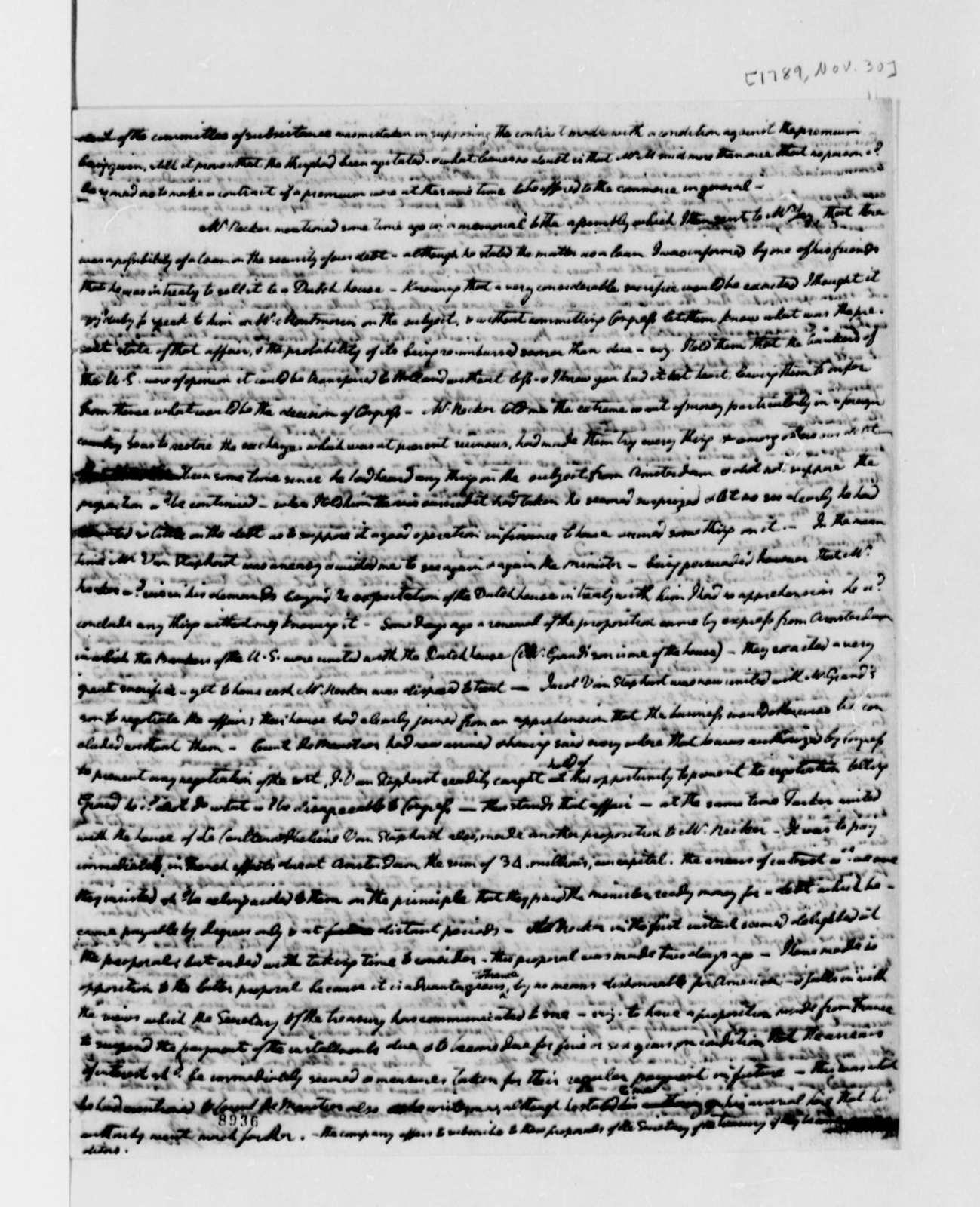 William Short to Thomas Jefferson, November 30, 1789