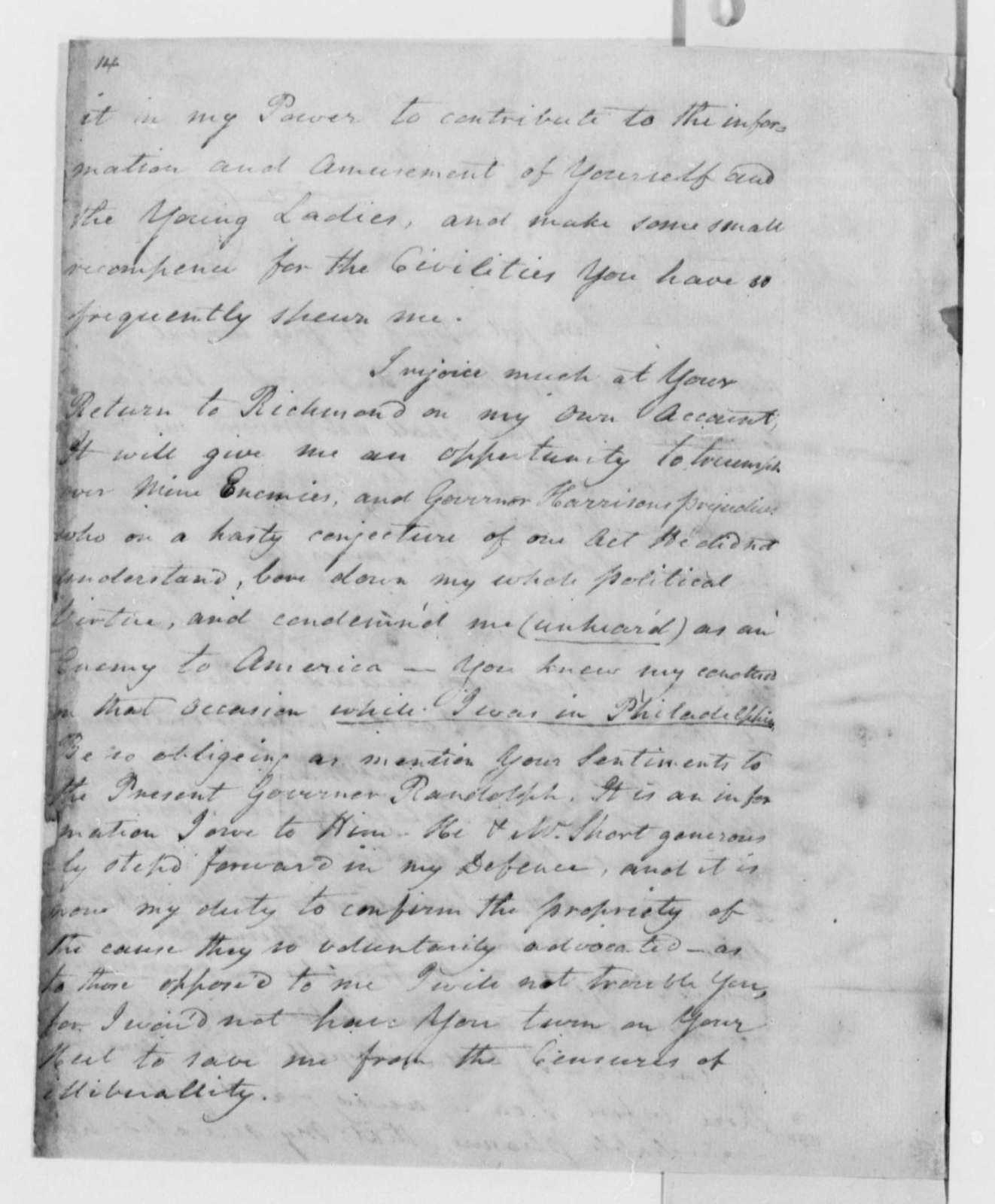 William Tatham to Thomas Jefferson, December 1789