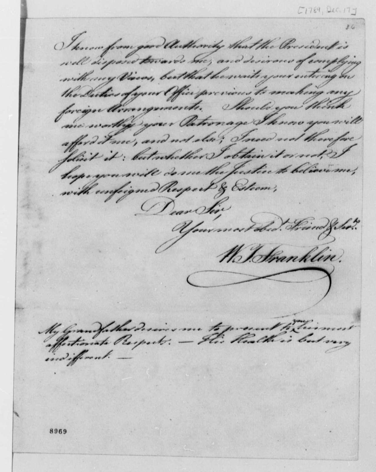 William Temple Franklin to Thomas Jefferson, December 17, 1789