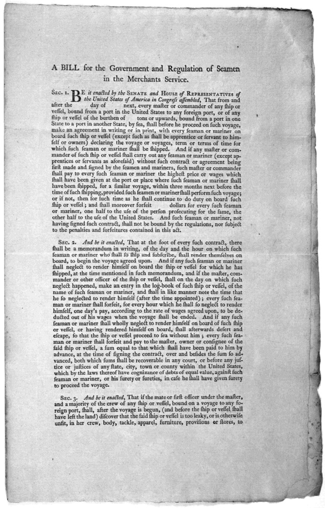 A bill for the government and regualtion of seamen in the merchants service ... [New York] Printed by Francis Childs and John Swaine [1790].