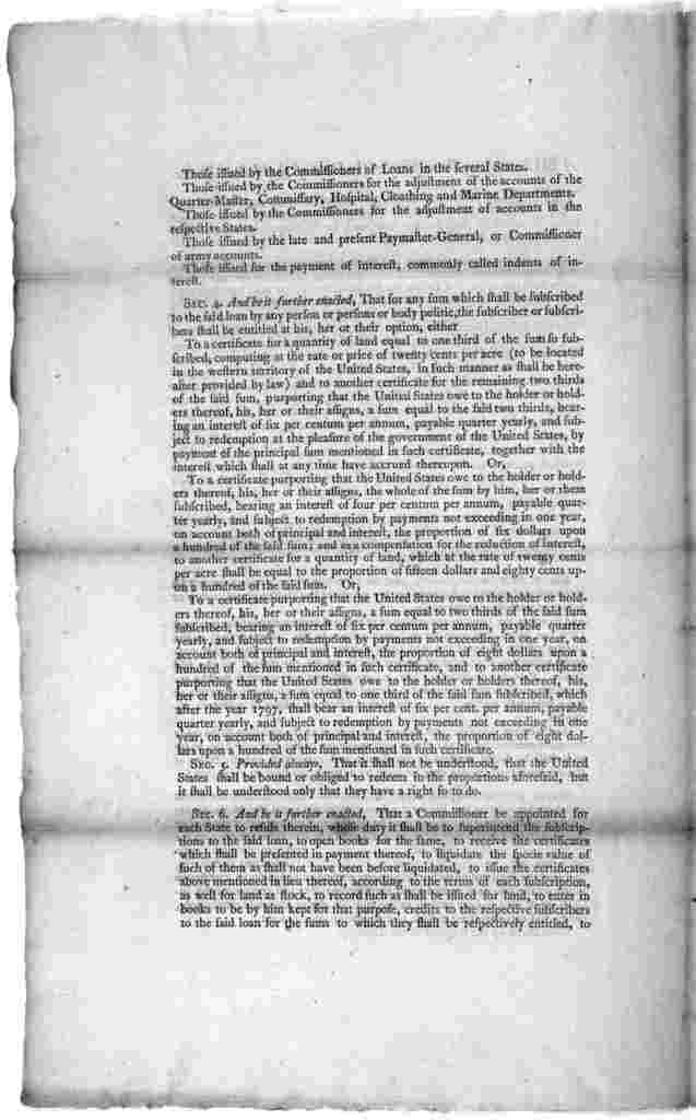 A bill making provision for the debt of the United States. [New York] Printed by Francis Childs and John Swaine. [1790].