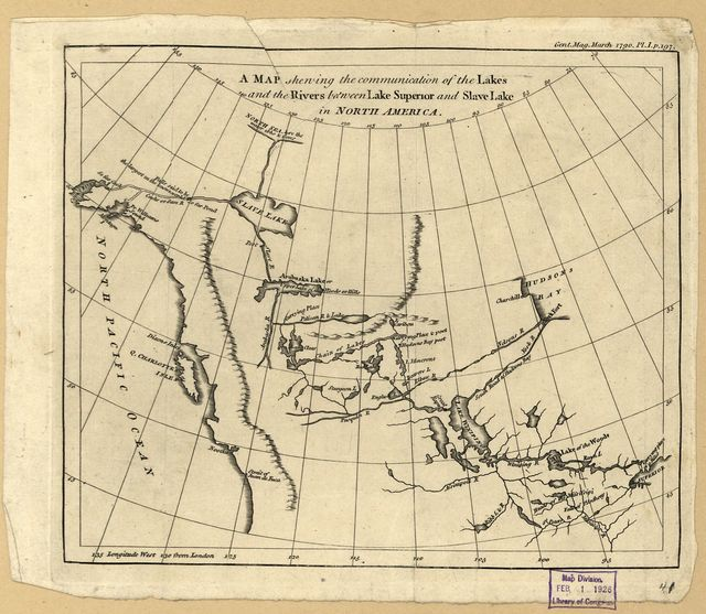 A map shewing the communication of the lakes and the rivers between Lake Superior and Slave Lake in North America.