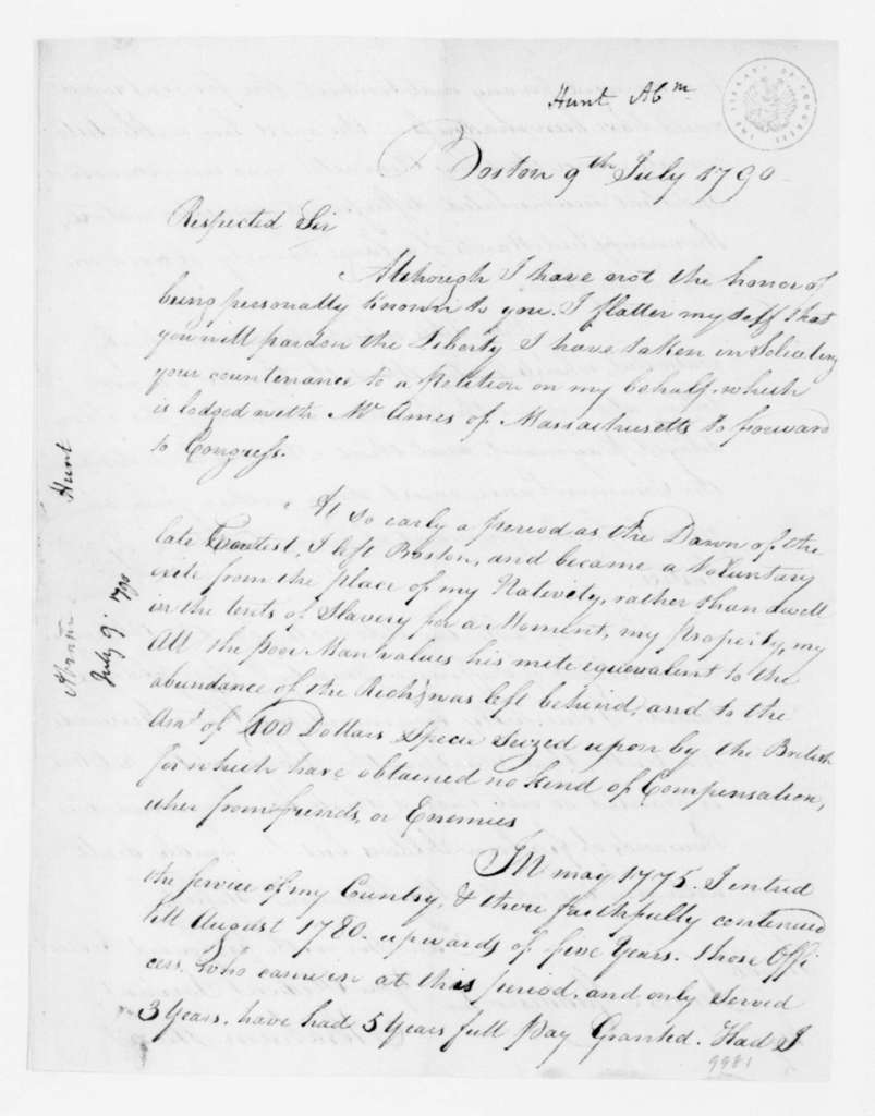 Abraham Hunt to James Madison, July 9, 1790.