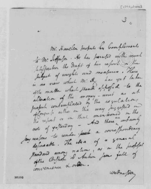 Alexander Hamilton, June 1790, Note on Weights and Measures