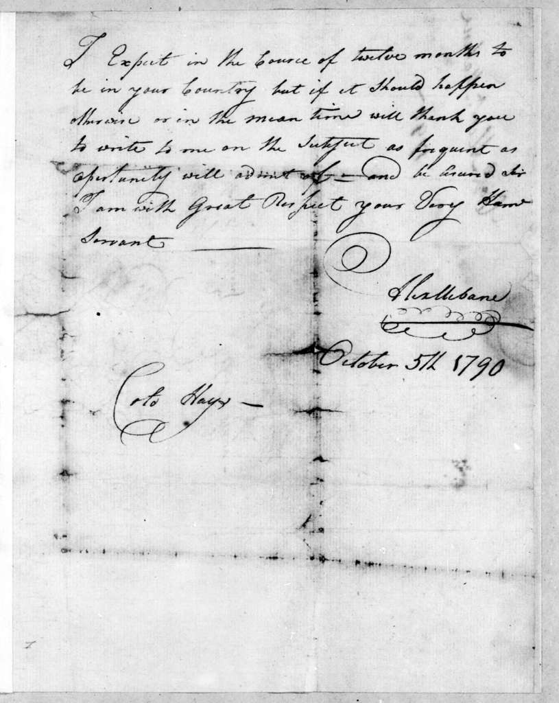 Alexander Mebane to Robert Hays, October 5, 1790