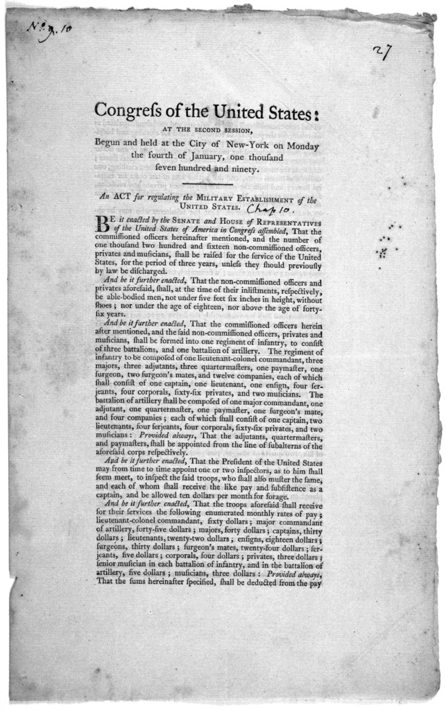 ... An act for regulating the military establishment of the United States. [New York] Printed by Francis Childs and John Swaine. [1790].