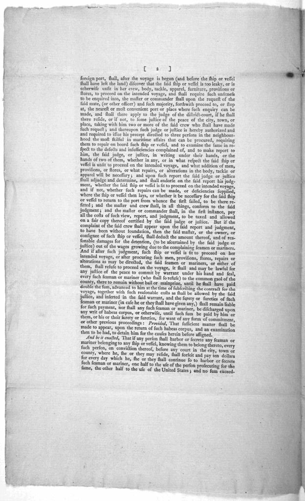... An act for the government and regulation of seamen in the merchants service. [New York: Printed by Francis Childs and John Swaine, 1790.].