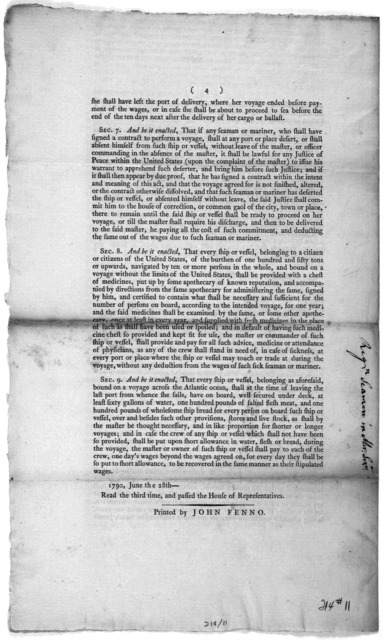 An act for the government and regulation of seamen in the merchants service ... June 28th, 1790. [Philadelphia] Printed by John Fenno [1790].
