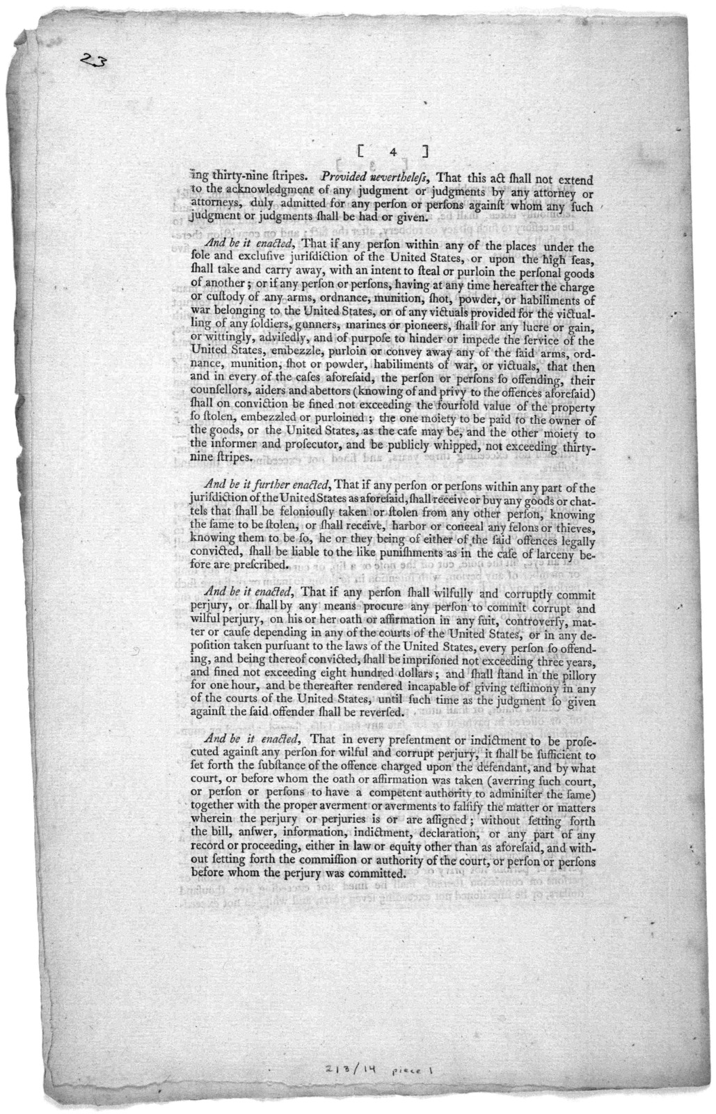... An act for the punishment of certain crimes against the United States. [New York] Printed by Francis Childs and John Swaine, [1790].