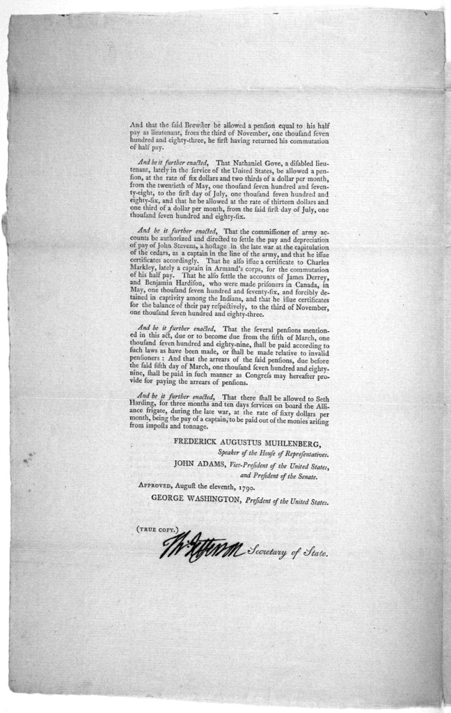 ... An act for the relief of disabled soldiers and seamen lately in the service of the United States, and of certain other persons. [New York: Printed by Francis Childs and John Swaine, 1790.].
