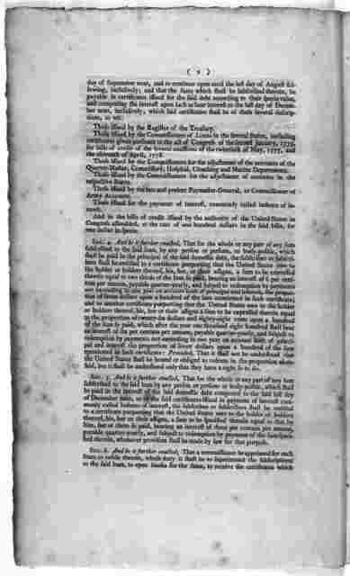 An act making provision for the debt of the United States. [New York, 1790.].