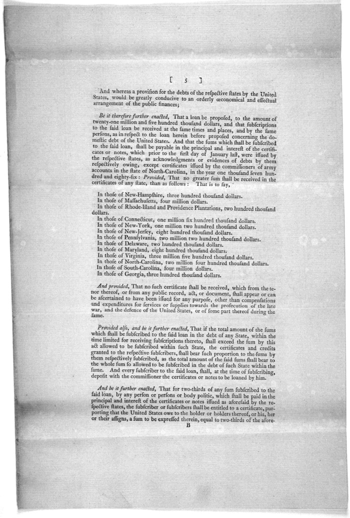 ... An act making provision for the debt of the United States. [New York: Printed by Francis Childs and John Swaine, 1790.].