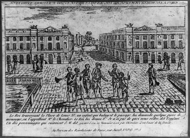 Anecdote arrivée á Louis XVI, quelques jours aprés sa residence á Paris