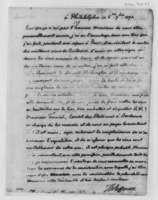 Armand T. H. de Mirosmenial, September 6, 1790, in French