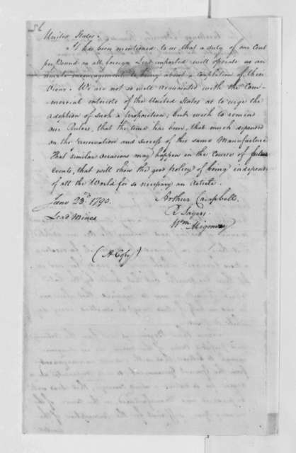 Arthur Campbell, R. Sayers, and William Migomry to Beverley Randolph, June 23, 1790