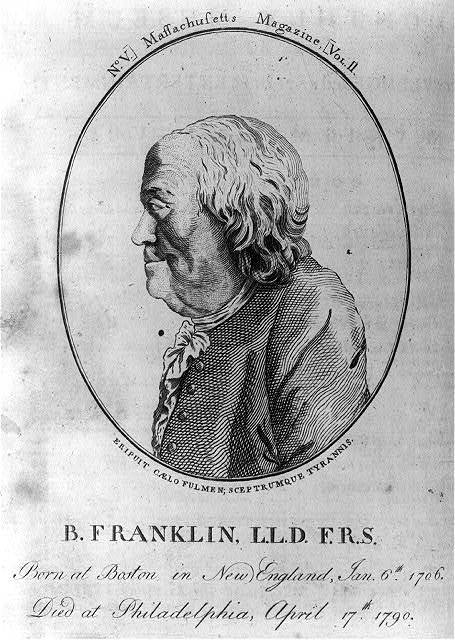 B. Franklin, L.L.D. F.R.S. - born at Boston in New England, Jan. 6th 1706 - died at Philadelphia, April 17th 1790
