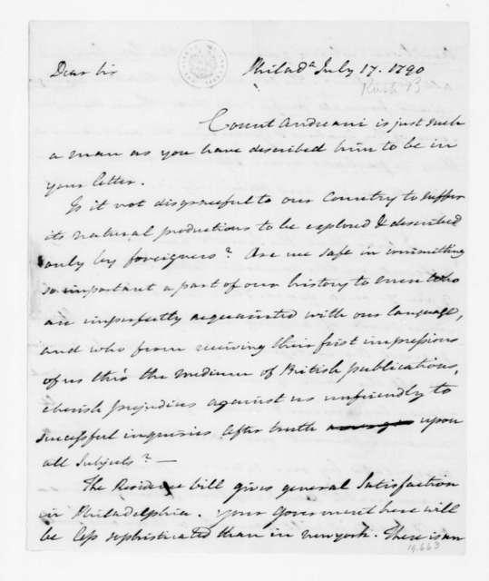 Benjamin Rush to James Madison, July 17, 1790.