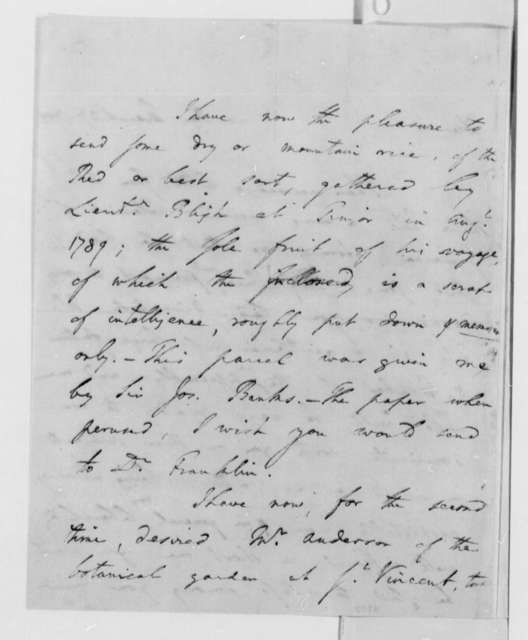 Benjamin Vaughan to Thomas Jefferson, March 27, 1790, Narrative, with Account of HMS Bounty